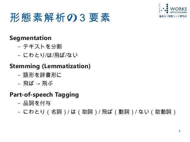 5 の形態素解析 3要素 Segmentation – テキストを分割 – にわとり/は/飛ば/ない Stemming (Lemmatization) – 語形を辞書形に – 飛ば → 飛ぶ Part-of-speech Tagging – 品...