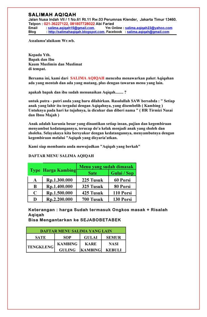 SALIMAH AQIQAHJalan Nusa Indah VII / 1 No.61 Rt.11 Rw.03 Perumnas Klender, Jakarta Timur 13460.Telpon : 021-36227122, 0818...