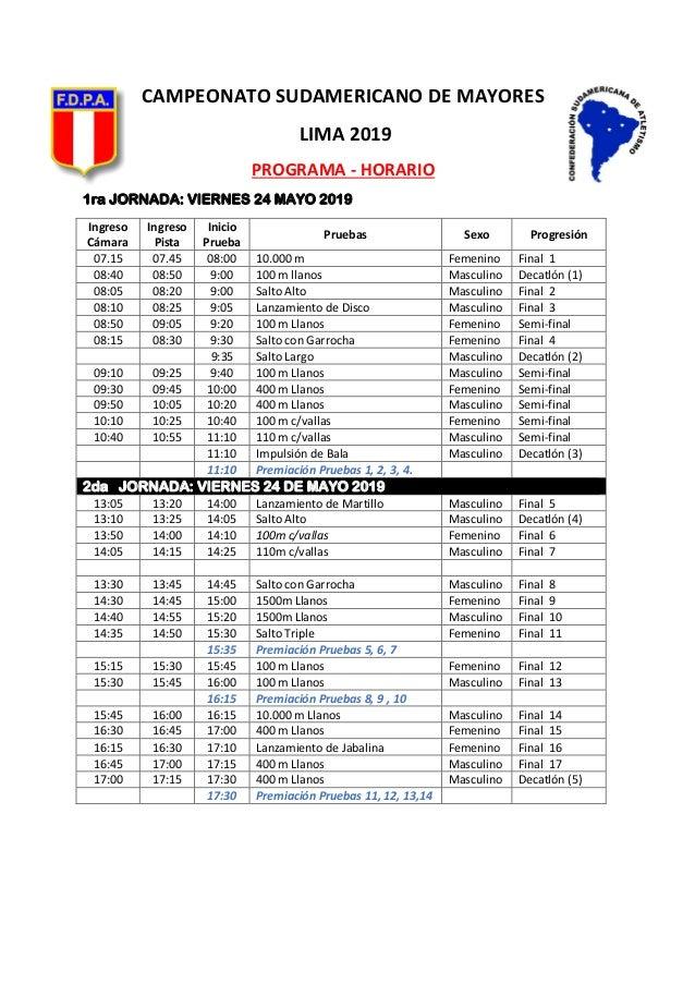 CAMPEONATO SUDAMERICANO DE MAYORES LIMA 2019 PROGRAMA - HORARIO 1ra JORNADA: VIERNES 24 MAYO 2019 Ingreso Cámara Ingreso P...