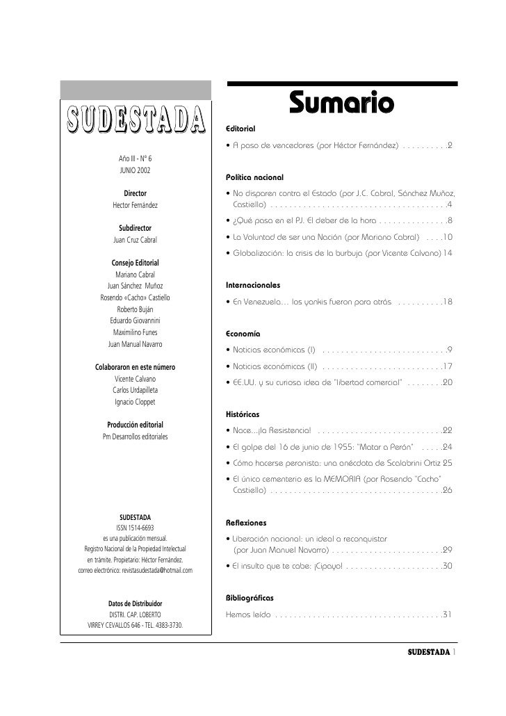 Sumario S U D E S TA D A                                    Editorial                                                     ...