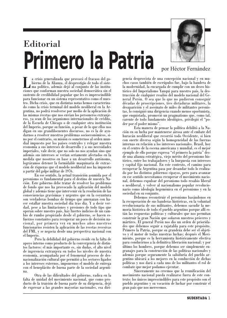 Editorial  Primero la Patria                                                                         por Héctor Fernández ...