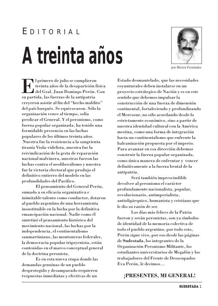 E   D I T O R I A L    A treinta años                                                              por Héctor Fernández   ...