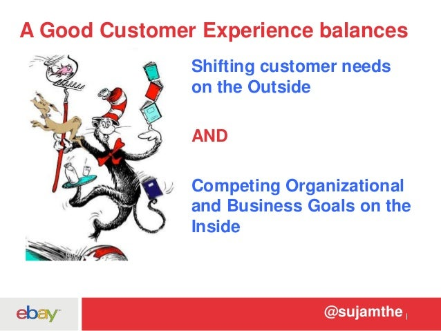 A Good Customer Experience balances  Shifting customer needs  on the Outside  @sujamthe  AND  Competing Organizational  an...