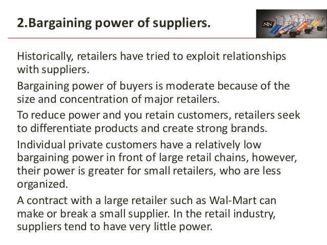 """retail financial services bargaining power of suppliers and buyers Porter's """"five forces"""" theory is a popular framework for industry analysis and strategy development, designed by harvard professor michael e porter, which posits that competitive intensity and attractiveness of any market is determined by the bargaining power of customers, the threat of substitute products or services, the bargaining."""