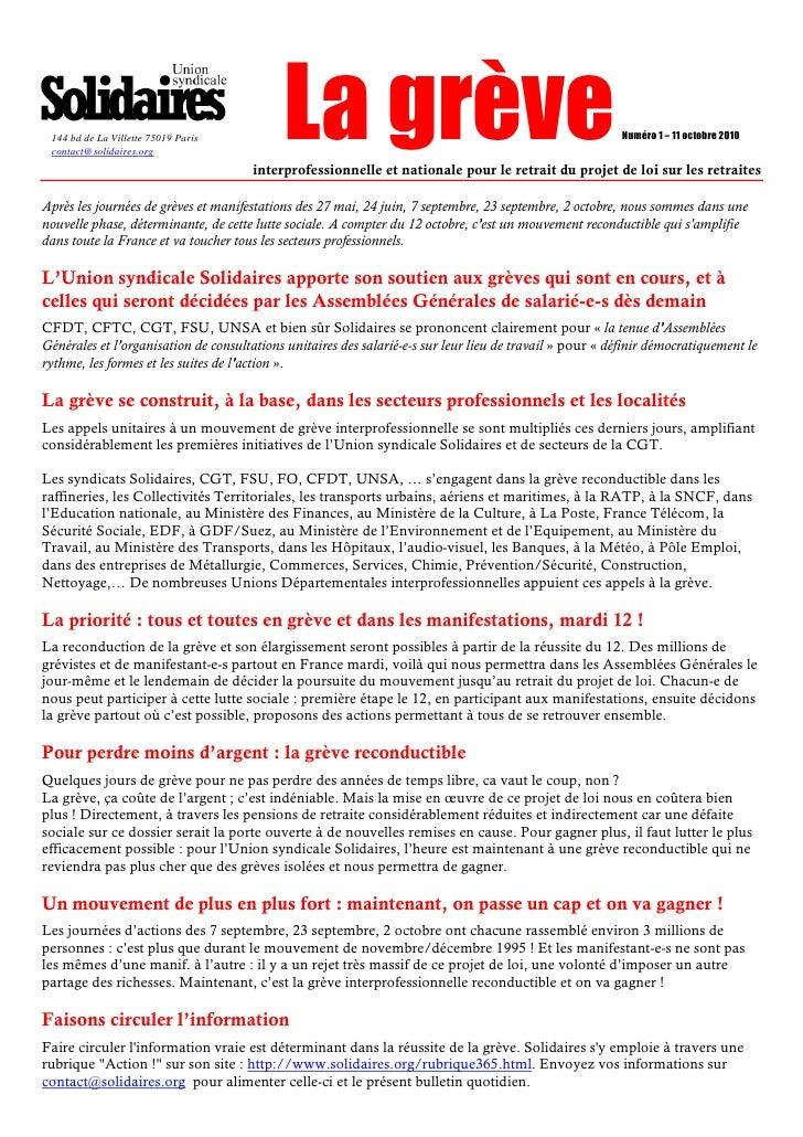 144 bd de La Villette 75019 Paris  contact@solidaires.org                                             La grève            ...