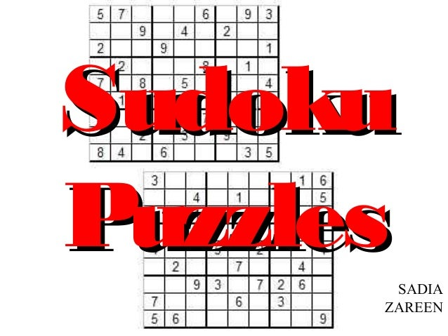 SudokuPuzzlesSADIA      ZAREEN