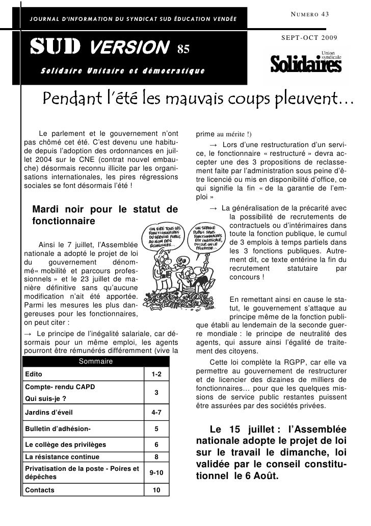 N U M E R O 43  JOURNAL D'INFORMATION DU SYNDICAT SUD ÉDUCATION VENDÉE                                                    ...
