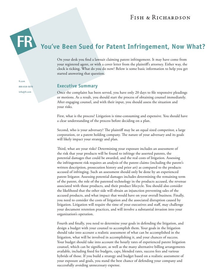 You've Been Sued for Patent Infringement, Now What?                     On your desk you find a lawsuit claiming patent inf...