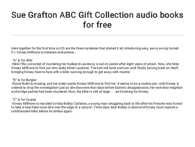 Sue Grafton ABC Gift Collection audio books for free