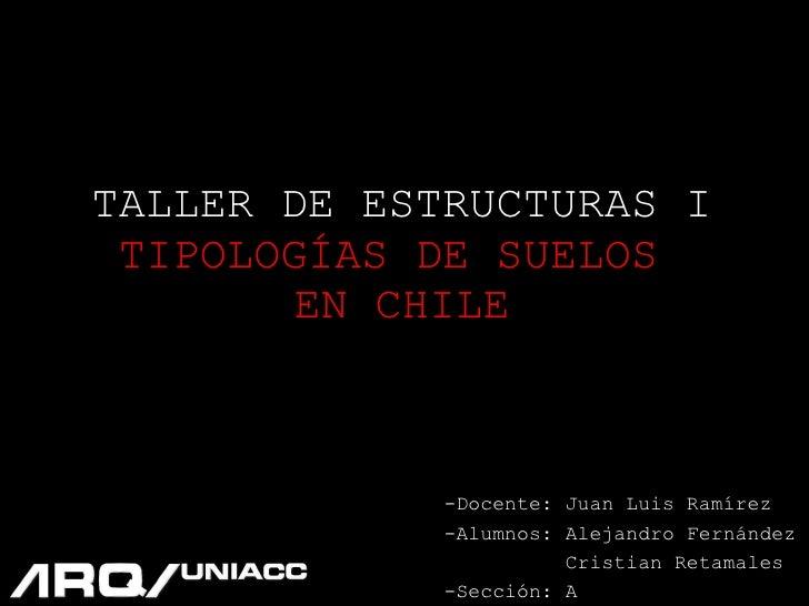 TALLER DE ESTRUCTURAS I TIPOLOGÍAS DE SUELOS  EN CHILE -Docente: Juan Luis Ramírez -Alumnos: Alejandro Fernández  Cristian...