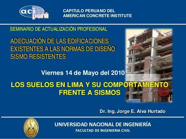 CAPITULO PERUANO DEL                    AMERICAN CONCRETE INSTITUTESEMINARIO DE ACTUALIZACIÓN PROFESIONALADECUACIÓN DE LAS...