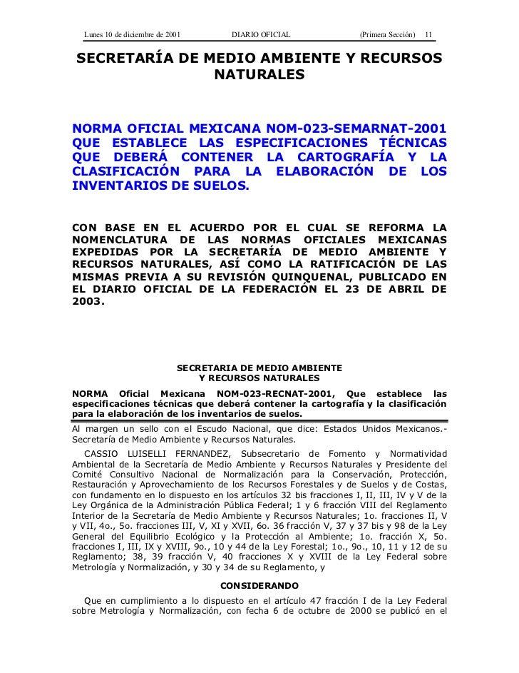 Lunes 10 de diciembre de 2001       DIARIO OFICIAL                 (Primera Sección)   11 SECRETARÍA DE MEDIO AMBIENTE Y R...
