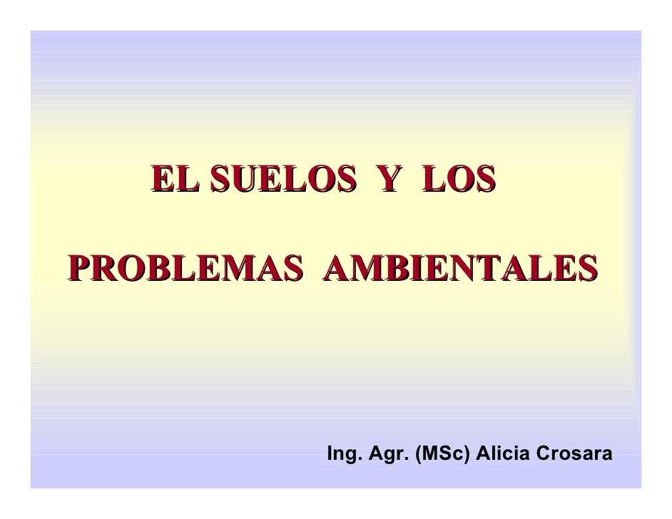 EL SUELOS Y LOSPROBLEMAS AMBIENTALES          Ing. Agr. (MSc) Alicia Crosara