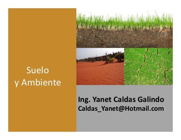 Ing. Yanet Caldas Galindo Caldas_Yanet@Hotmail.com Suelo y Ambiente