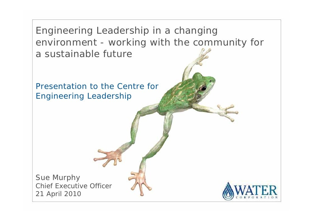 Engineering Leadership in a changing environment - working with the community for a sustainable future   Presentation to t...