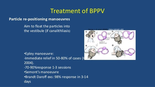 Manual therapy treatment of cervicogenic dizziness Useful treatments; • Maitland Passive Joint Mobilisations • Mulligan Su...
