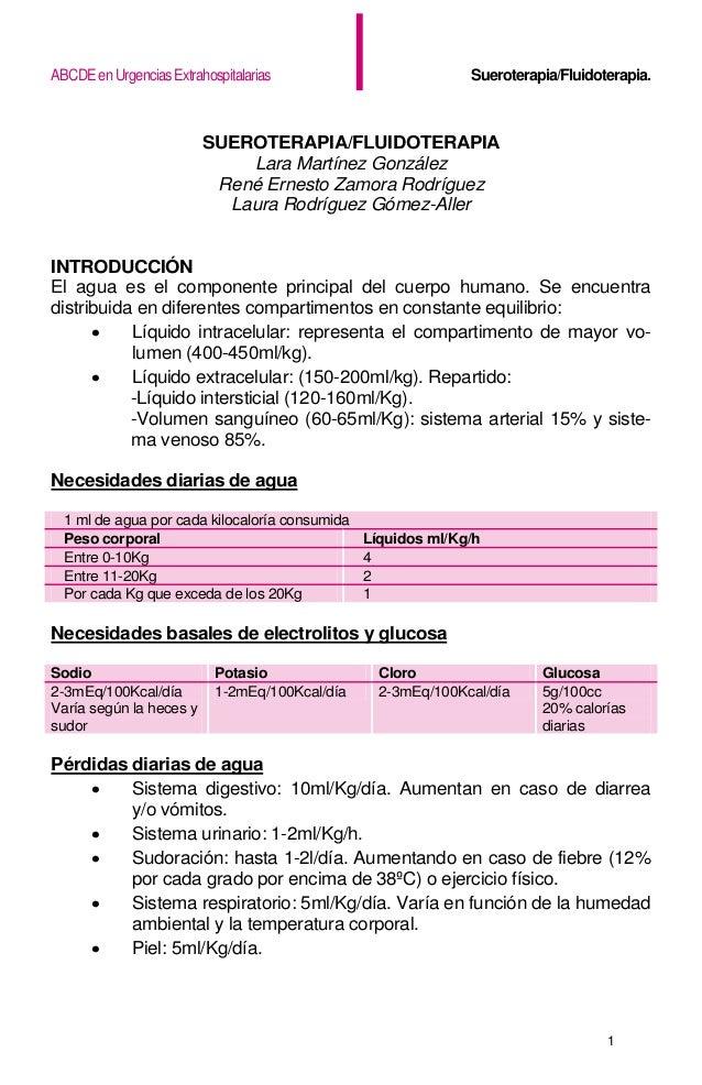 ABCDEenUrgenciasExtrahospitalarias Sueroterapia/Fluidoterapia. 1 SUEROTERAPIA/FLUIDOTERAPIA Lara Martínez González René Er...