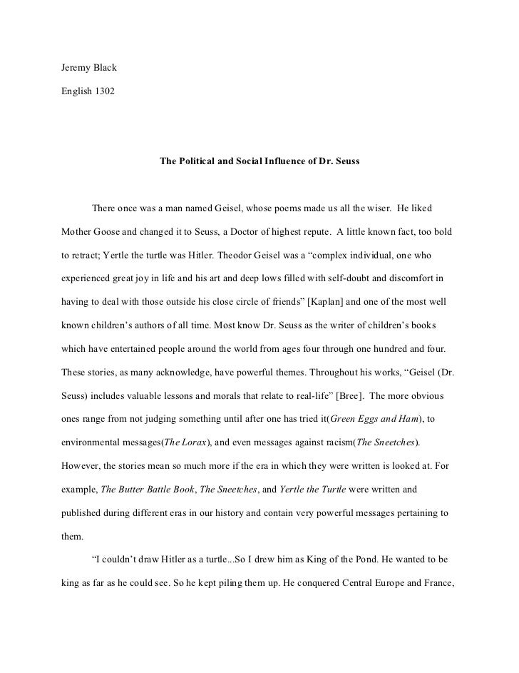 Dr. Seuss Research Paper