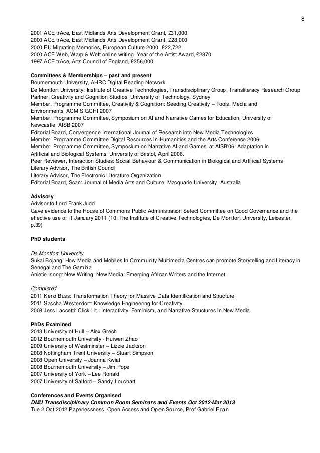 8 2001 ACE trAce, East Midlands Arts Development Grant, £31,000 2000 ACE trAce, East Midlands Arts Development Grant, £28,...