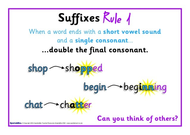 Suffixes Rule 1 When a word ends with a short vowel sound and a ...