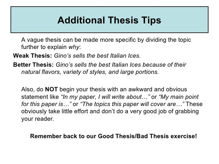 identifying thesis statement worksheet