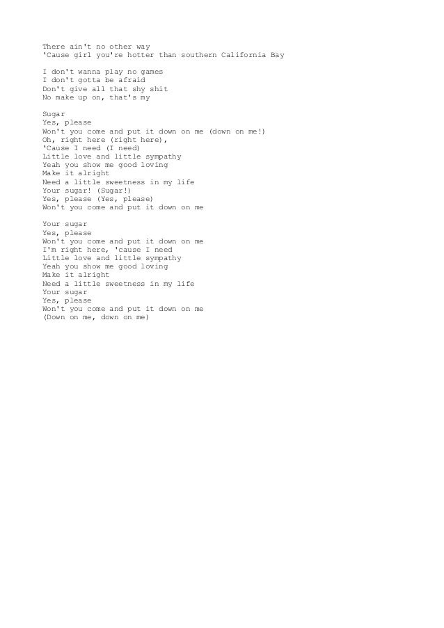 Group Of Sugar Lyrics Maroon 5