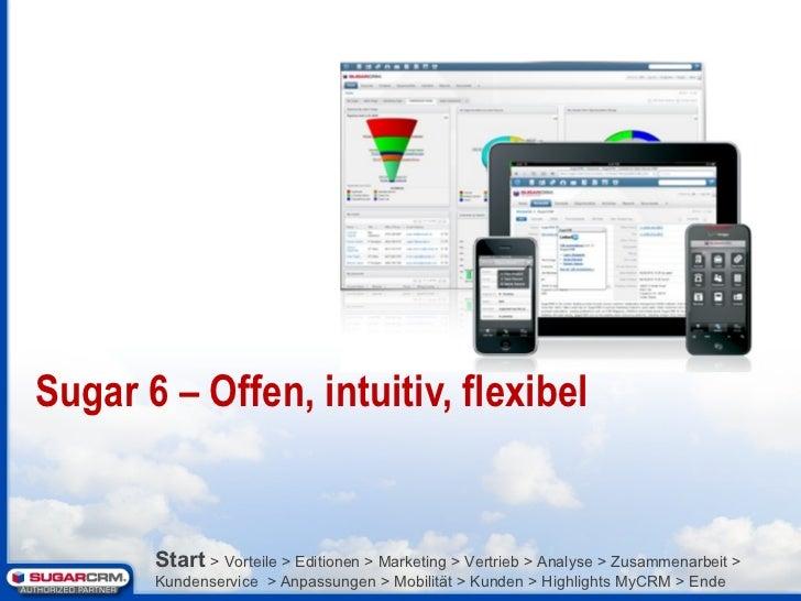 Sugar 6 – Offen, intuitiv, flexibel Start   > Vorteile > Editionen > Marketing > Vertrieb > Analyse > Zusammenarbeit > Kun...
