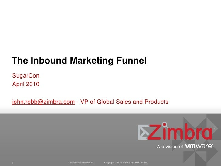 SugarCon<br />April 2010<br />john.robb@zimbra.com - VP of Global Sales and Products<br />The Inbound Marketing Funnel<br />