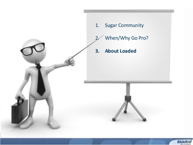 1.   Sugar Community2.   When/Why Go Pro?3.   About Loaded