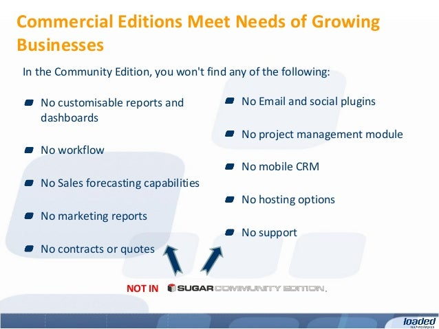 Commercial Editions Meet Needs of GrowingBusinessesIn the Community Edition, you wont find any of the following:   No cust...