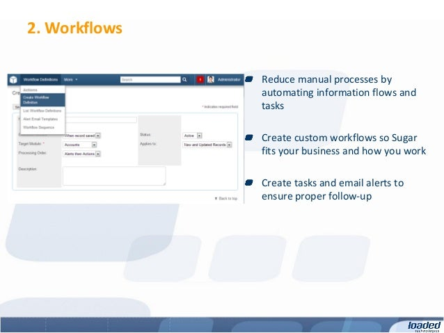2. Workflows               Reduce manual processes by               automating information flows and               tasks  ...
