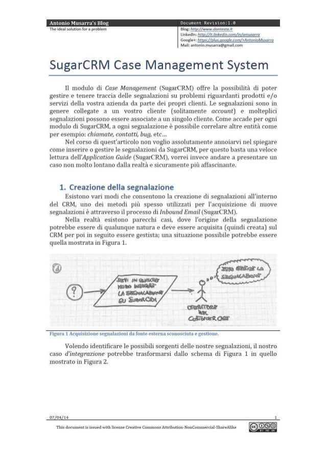 SugarCRM Case Management System - Caso d'integrazione