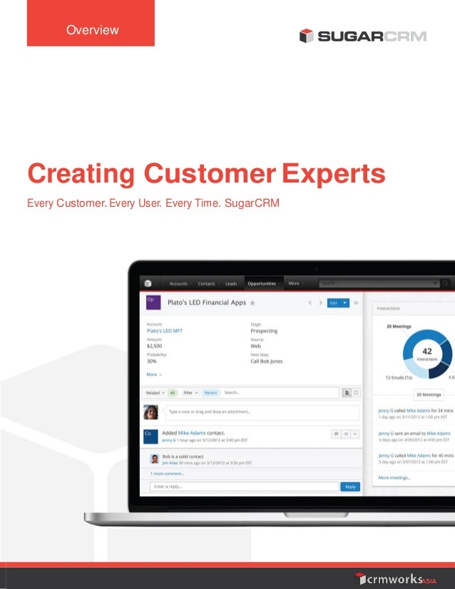 Overview Creating Customer Experts Every Customer. Every User. Every Time. SugarCRM