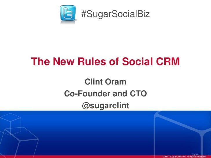 #SugarSocialBizThe New Rules of Social CRM         Clint Oram     Co-Founder and CTO         @sugarclint                  ...