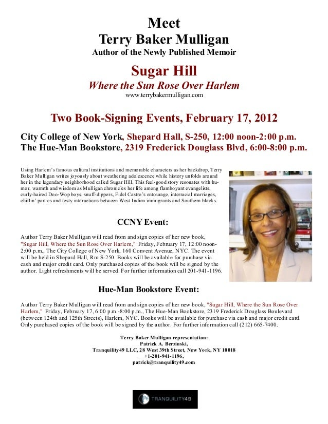 Meet Terry Baker Mulligan Author of the Newly Published Memoir Sugar Hill Where the Sun Rose Over Harlem www.terrybakermul...