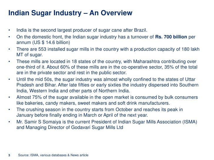 sugar industry of india Indian sugar industry – overview contd there are 664 sugar factories in india widely dispersed over up, maharashtraand in other states ownership of sugar sector .