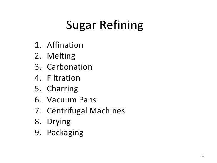 Sugar Refining <ul><li>Affination </li></ul><ul><li>Melting </li></ul><ul><li>Carbonation </li></ul><ul><li>Filtration </l...