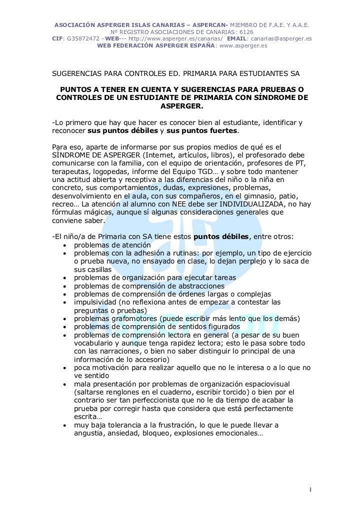 ASOCIACIÓN ASPERGER ISLAS CANARIAS – ASPERCAN- MIEMBRO DE F.A.E. Y A.A.E.                 Nº REGISTRO ASOCIACIONES DE CANA...