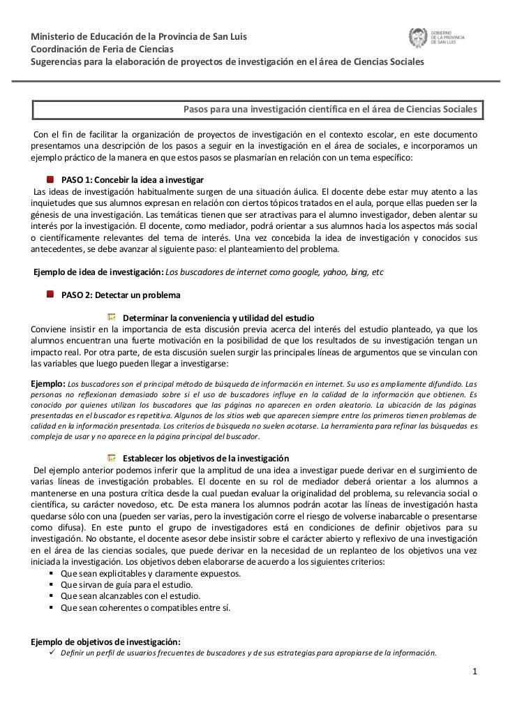 Ministerio de Educación de la Provincia de San LuisCoordinación de Feria de CienciasSugerencias para la elaboración de pro...