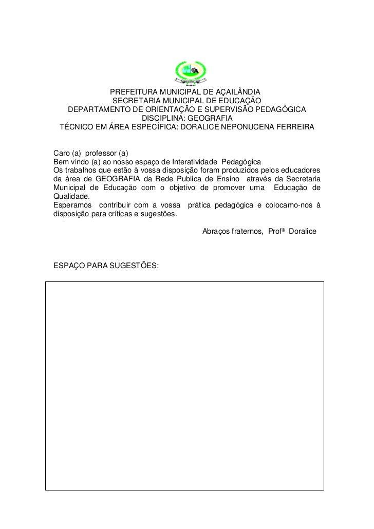 PREFEITURA MUNICIPAL DE AÇAILÂNDIA             SECRETARIA MUNICIPAL DE EDUCAÇÃO   DEPARTAMENTO DE ORIENTAÇÃO E SUPERVISÃO ...