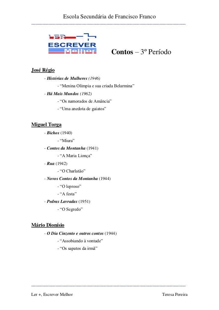 Escola Secundária de Francisco Franco______________________________________________________________________               ...