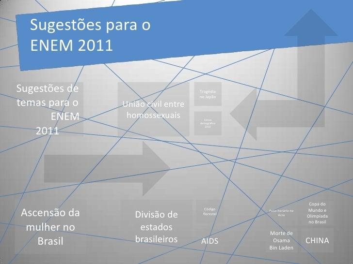 Sugestõespara o ENEM 2011<br />Sugestões de temas para oENEM 2011<br />União civil entre homossexuais<br />Tragédia no Ja...