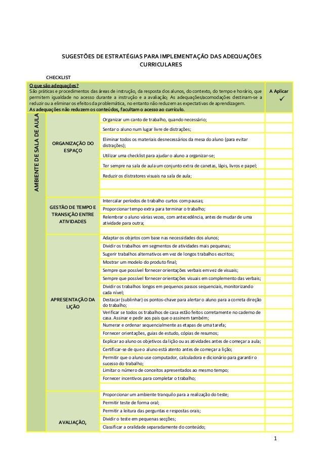 SUGESTÕES DE ESTRATÉGIAS PARA IMPLEMENTAÇÂO DAS ADEQUAÇÕES CURRICULARES CHECKLIST O que são adequações? São práticas e pro...