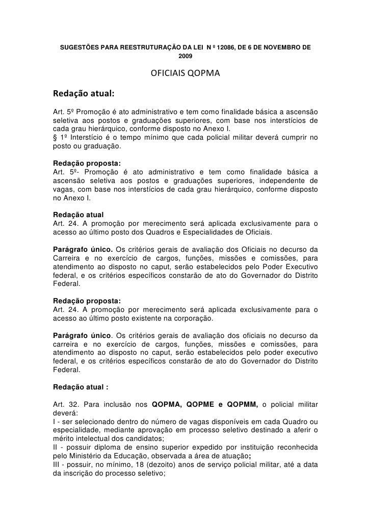 SUGESTÕES PARA REESTRUTURAÇÃO DA LEI N º 12086, DE 6 DE NOVEMBRO DE                               2009                    ...