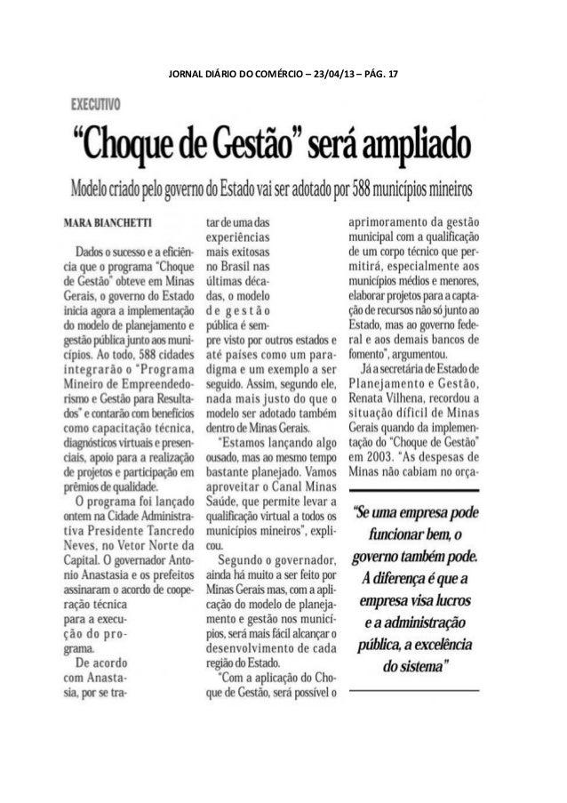 JORNAL DIÁRIO DO COMÉRCIO – 23/04/13 – PÁG. 17