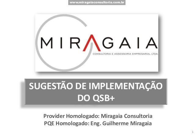 www.miragaiaconsultoria.com.br SUGESTÃO DE IMPLEMENTAÇÃO DO QSB+ Provider Homologado: Miragaia Consultoria PQE Homologado:...