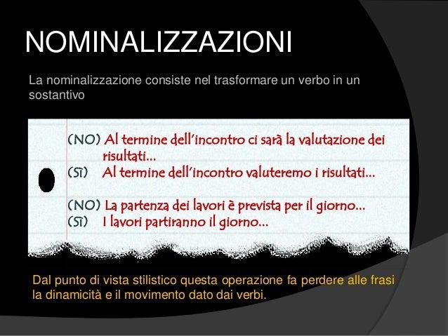 NOMINALIZZAZIONI La nominalizzazione consiste nel trasformare un verbo in un sostantivo (NO) Al termine dell'incontro ci s...
