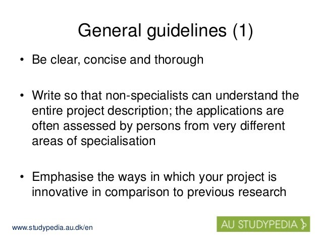 Suggestions for the content of the PhD project description