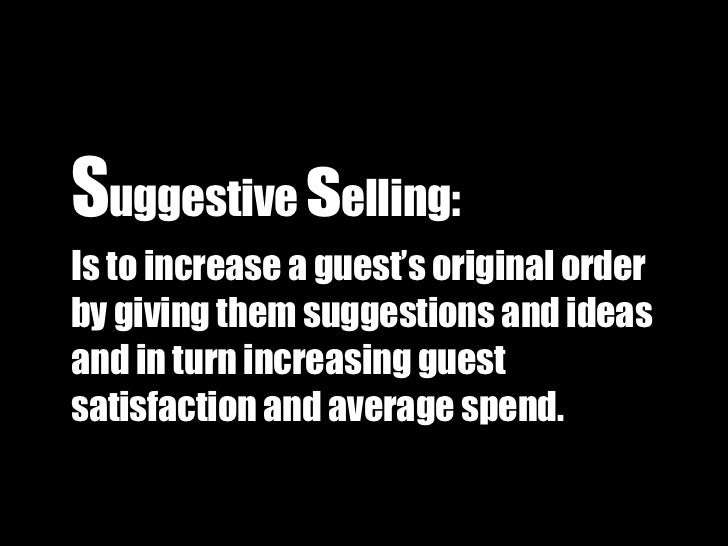 suggestive selling in the restaurants