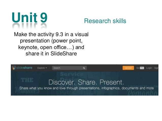 Unit 13 Some suggestion to do a good visual presentations Presentation Skills Make and record the presentation about yours...